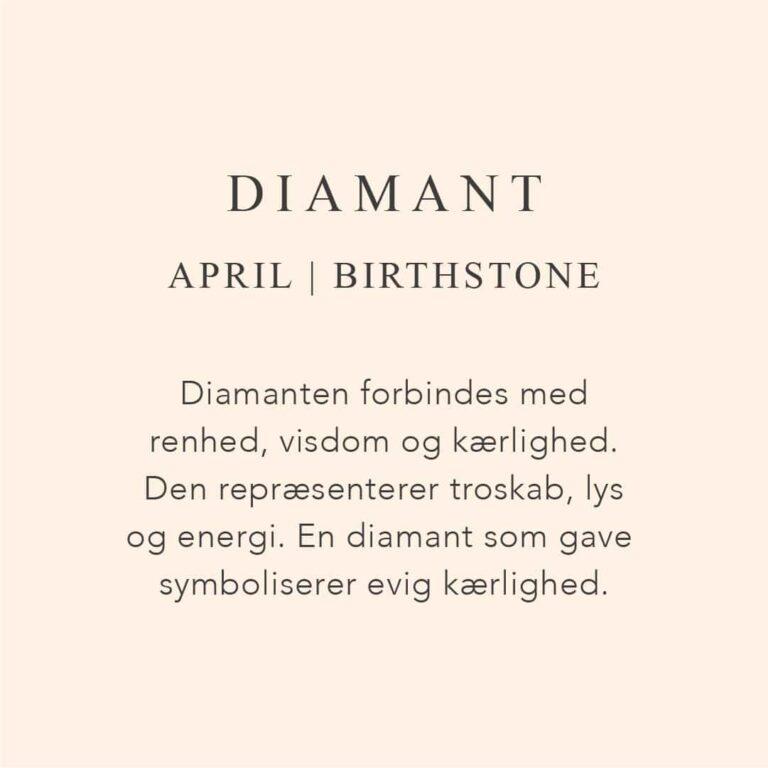 Fødselssten April måned er diamant. Diamanten forbindes med renhed, visdom og kærlighed. Den repræsenterer troskab, lys og energi. En diamant som gave symboliserer evig kærlighed.