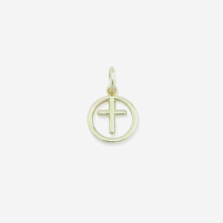 Birthstone Cross forgyldt sølv